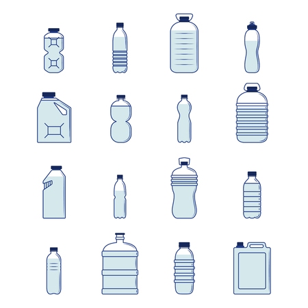 clean water: Plastic bottle and container decorative icons silhouette set isolated vector illustration