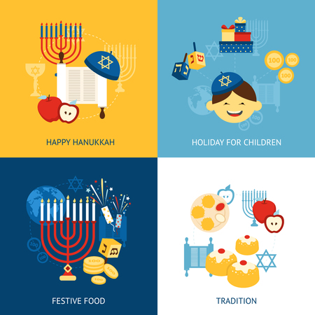 hanukah: Hanukkah design concept set with religious tradition flat icons set isolated vector illustration Illustration