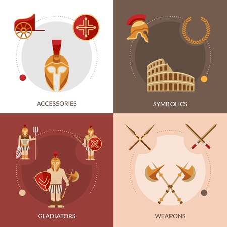 chariot: Gladiator design concept set with weapons and symbolics flat icons isolated vector illustration