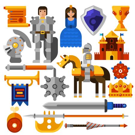 castello medievale: le icone piane impostate con armi medievali cavaliere principessa del castello e di altri elementi isolati illustrazione vettoriale Vettoriali