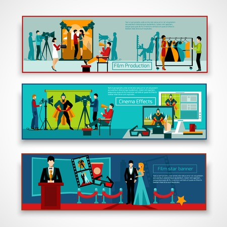 movie screen: Cinema people horizontal banner set with film production elements isolated vector illustration Illustration