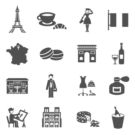 traditional culture: France icons black set with traditional culture symbols isolated vector illustration