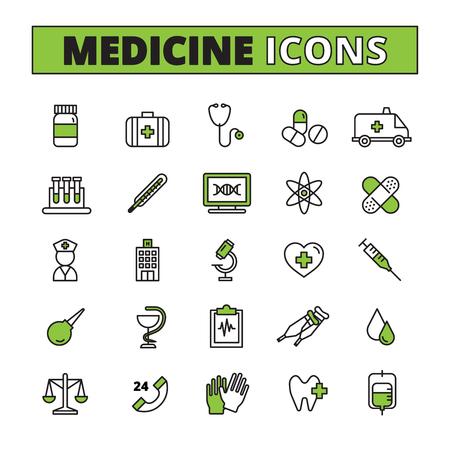 ambulancia: Iconos de conducciones de uso m�dico con el tratamiento de la ambulancia y de investigaci�n s�mbolos ilustraci�n del vector aislado plana