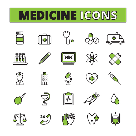 blood test: Medical line icons set with ambulance treatment and research symbols flat isolated vector illustration Illustration