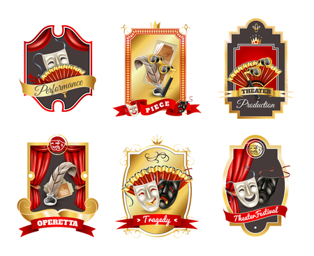 Theatre realistic emblems set with performance production and festival symbols isolated vector illustration Illustration