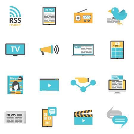 medios de comunicaci�n social: Iconos de medios de comunicaci�n de masas establecidas con s�mbolos de prensa en l�nea y de la foto de los medios aislados plana ilustraci�n vectorial Vectores