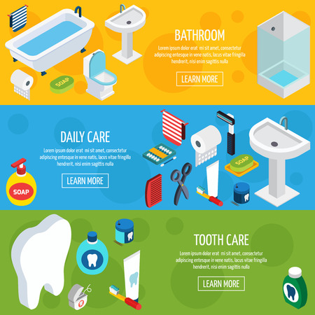 domestic bathroom: Isometric horizontal hygiene banners  with bathroom objects and  means of daily care and tooth care  vector illustration