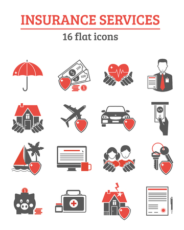 Insurance services red black icons set with health life and property insurance symbols flat isolated vector illustration