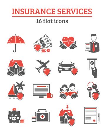 Verzekeringsdiensten rode zwarte pictogrammen die met de gezondheid van het leven en schadeverzekeringen symbolen platte geïsoleerde vector illustratie