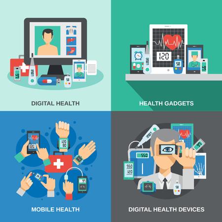 salud: concepto de diseño de la salud digital programada con la ilustración vectorial de diagnóstico móviles iconos planos aislados