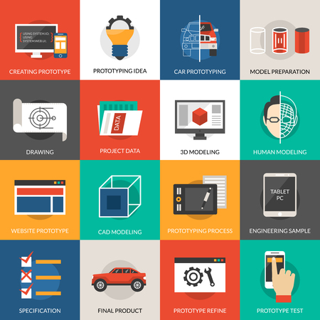 modeling: Prototyping idea and cad modeling icons set isolated vector illustration