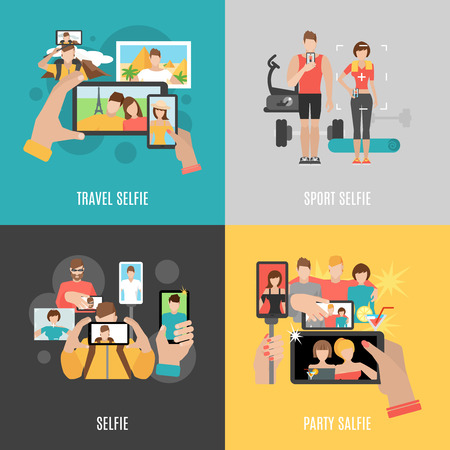 Sport travel and party selfies with friends 4 flat  icons square composition banner abstract isolated vector illustration