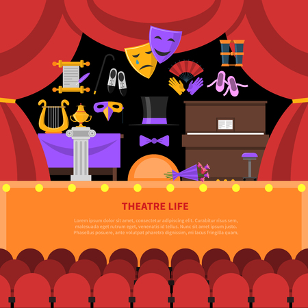 teatro mascara: Teatro concepto de vida con asientos escenario y telón rojo ilustración vectorial plana