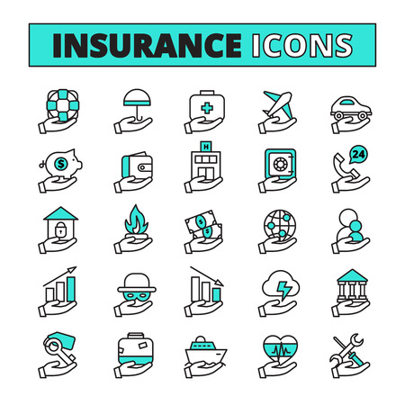 money risk: Insurance line icons set with property transport and life safety symbols flat isolated vector illustration