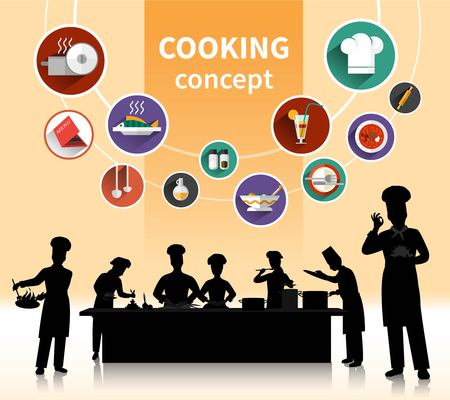 specialities: Cooking people concept with food ingredients and menu symbols shadow flat isolated vector illustration
