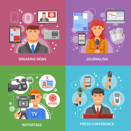 press: Press concept icons set with breaking news reportage and press conference symbols flat isolated vector illustration