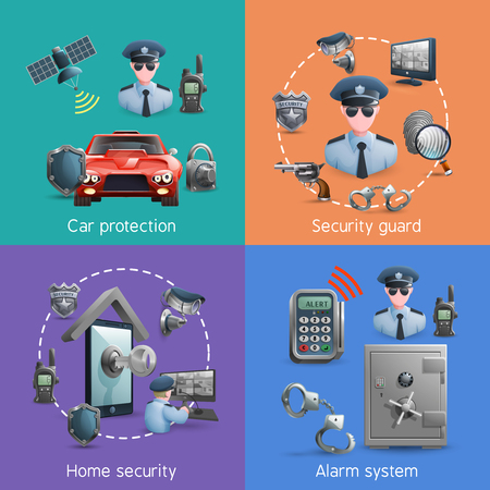 home security: Security  design concept set with elements of  home  safety and alarm system vector illustration