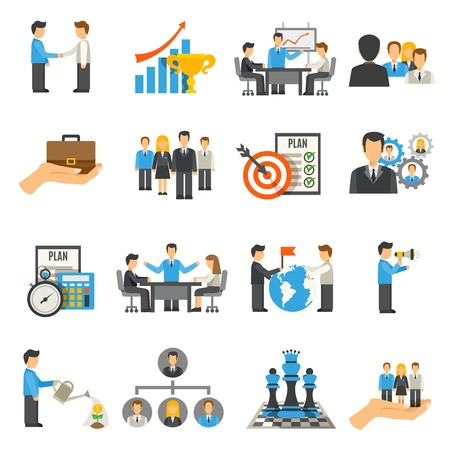 GERENTE: Iconos planos de gestión establecidos con hombres de negocios en reunión de trabajo y conferencias aisladas ilustración vectorial