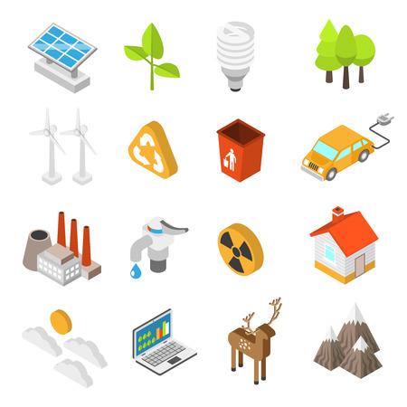 Icono de la ecología y la protección del medio ambiente la conservación establece con turbinas de viento paneles solares aislados ilustración vectorial