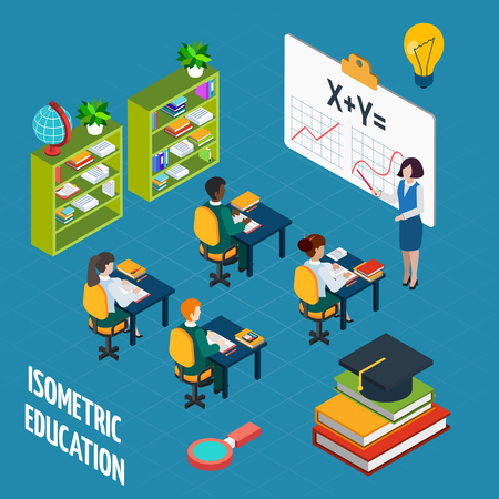 teacher classroom: School education  isometric design concept with teacher at blackboard and pupil in classroom vector illustration