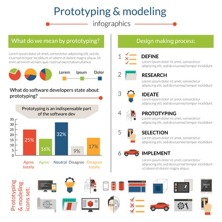 prototyping: Prototyping and modeling infographics set with creative symbols and charts vector illustration