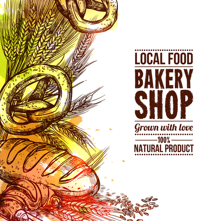 Bakery shop with hand drawn bread and wheat ears vector illustration