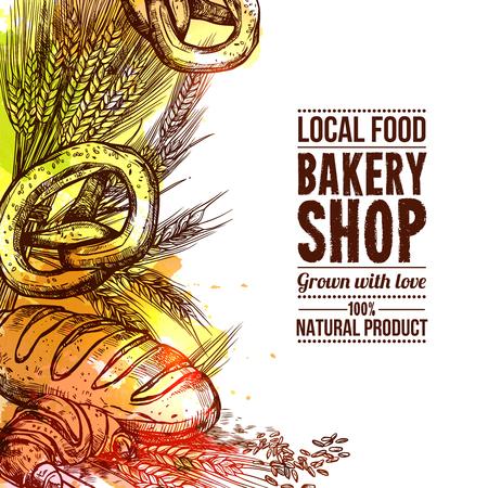 Bäckerei-Shop mit Hand gezeichnet Brot und Weizen Ohren Vektor-Illustration Standard-Bild - 48259881