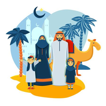 femmes muslim: concept de famille musulmane avec les parents de la mosqu�e et des enfants vecteur plat illustration Illustration