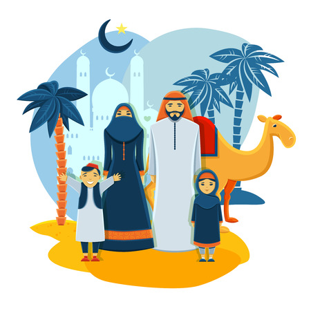 woman praying: Muslim family concept with mosque parents and children flat vector illustration