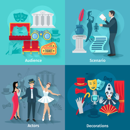 scenario: Theater design concept set with audience scenario actors and decorations flat icons isolated vector illustration