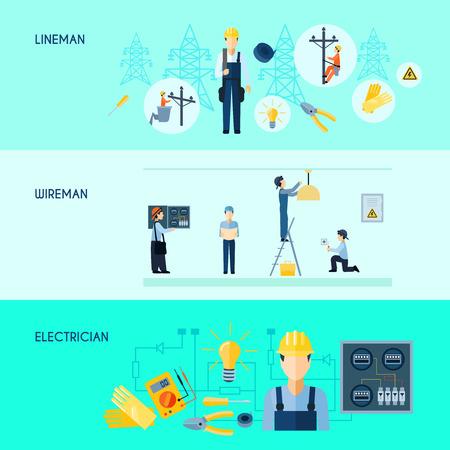 electricidad: Conjunto de tres banderas de electricidad horizontales planas con wireman liniero electricista y la ilustraci�n vectorial