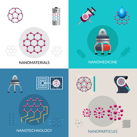 applications: Nanotechnology concept of fabrication nanomaterials and nanoparticles 4 flat icons composition square banner abstract isolated vector illustration Illustration
