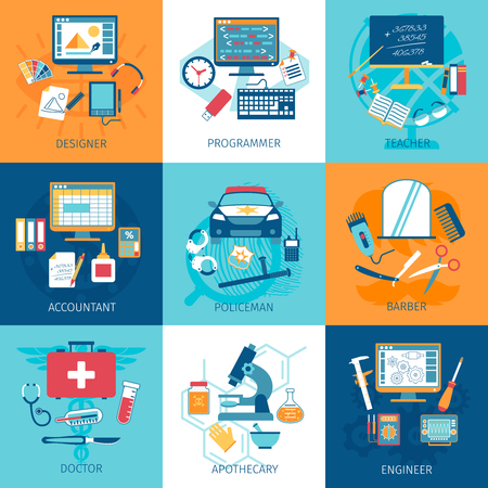 workspace: Different profession workspace and equipment concept set isolated vector illustration