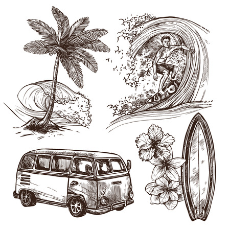 vague: Surfer sur le sport et mode de vie planche de surf de vague plage et van esquisse ic�ne d�corative ensemble isol� illustration vectorielle