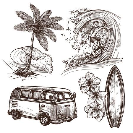 boceto: Surfing ilustración vectorial deporte y estilo de vida de playa tabla de surf de olas y van boceto conjunto decorativo icono aislado Vectores