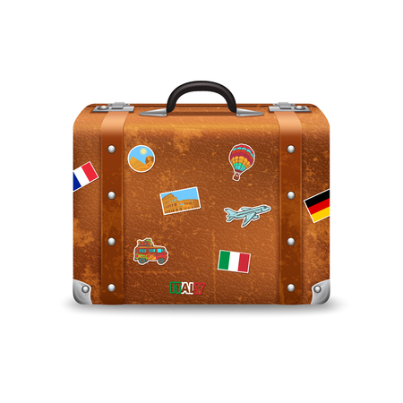 voyage: Old style voyage suitcase with travel stickers realistic vector illustration