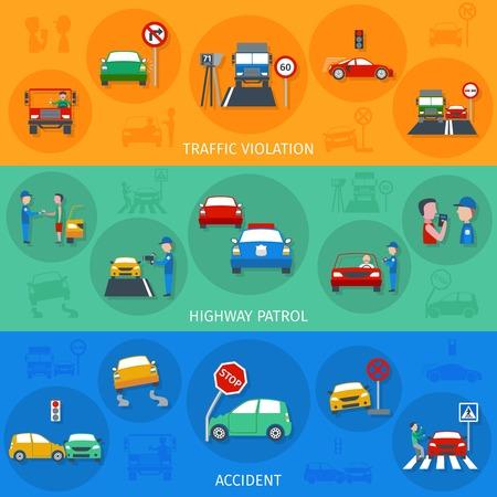 violation: Violación de tráfico banner horizontal establece con los accidentes de carretera elementos aislados ilustración vectorial