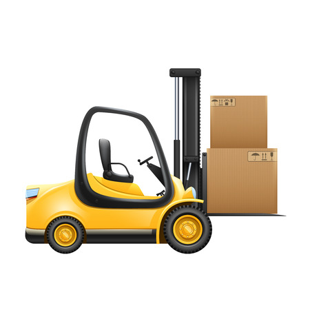 lifter: Lift truck with box isolated on white background vector illustration Illustration