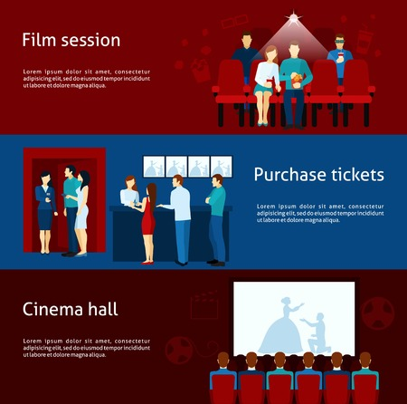 cinema screen: Cinematography  banners with purchase ticket  cinema hall film session and  audience flat  vector  illustration. Illustration