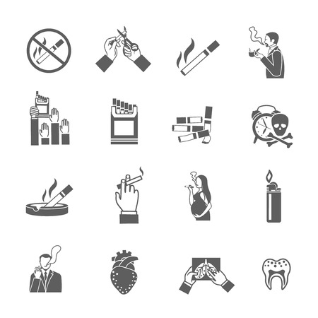 ashtray: Smoking addiction black icons set with cigarettes pack lighter and smokers isolated vector illustration Illustration