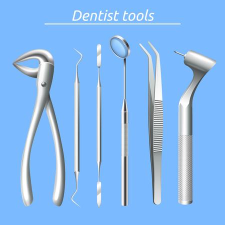 Dentista strumenti realistici e l'assistenza sanitaria dentale attrezzature impostato isolato illustrazione vettoriale Archivio Fotografico - 48260124