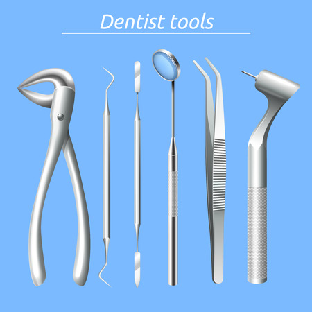 tool: Realistische Zahnarzt Werkzeuge und Zahnpflegegeräte isoliert Vektor-Illustration gesetzt