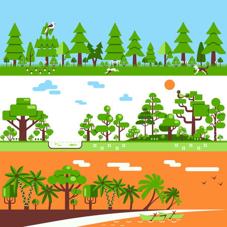 deciduous forest: Forest horizontal banners include deciduous trees gum pine coconut palm hare bird grass  flat vector illustration