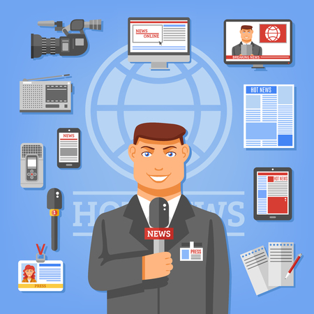 online newspaper: Journalist concept with radio tv cameras microphones and dictaphones flat vector illustration Illustration