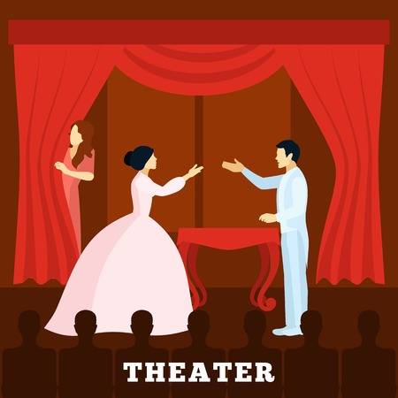 actors: Theatre stage performance with actors curtain and audience poster  flat  vector illustration.