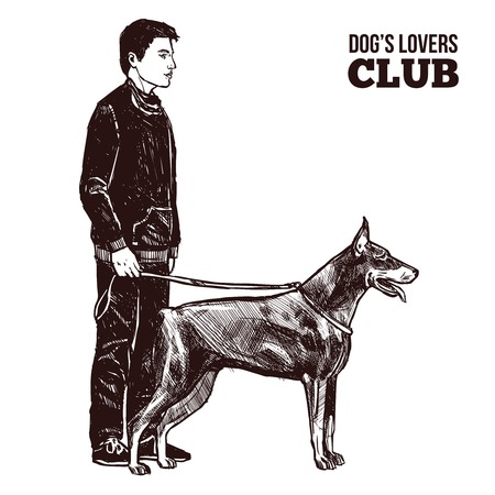 leash: Hand drawn man and dog on the leash silhouettes vector illustration Illustration
