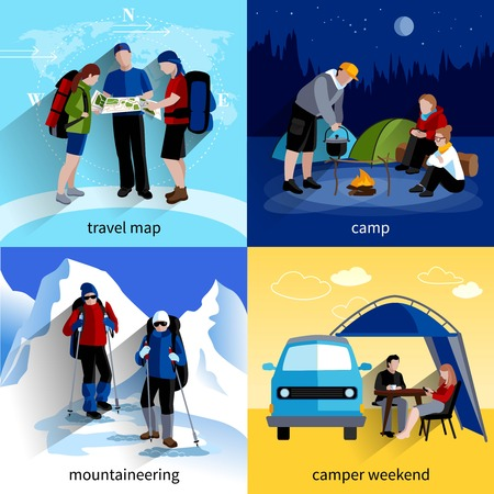 mountaineering: Camper people icons set with travel map mountaineering and camper weekend symbols flat isolated vector illustration Illustration