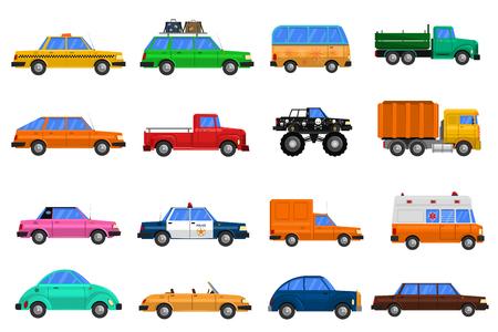 alumnos en clase: Los diferentes tipos de coches iconos fijó con ilustración vectorial de camiones autobuses y coches de policía aislados plana Vectores