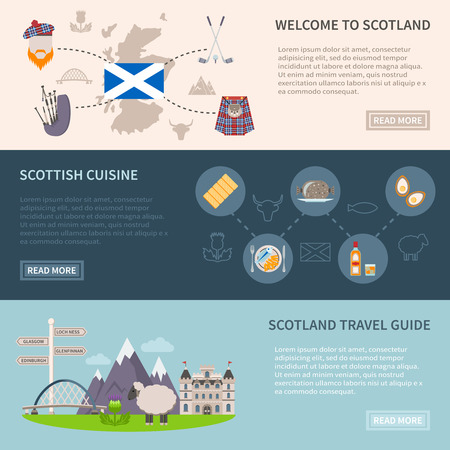 loch: Scotland horizontal banners set with food drink and travel symbols flat isolated vector illustration Illustration