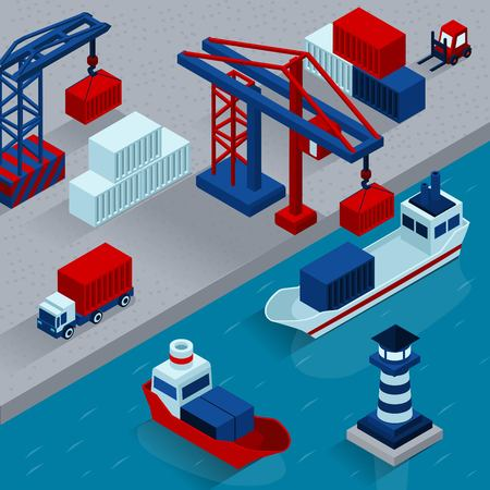 sea seaport: Seaport cargo loading  isometric concept with working port facilities vector illustration